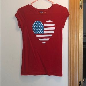 Red white and blue Fourth of July heart t-shirt